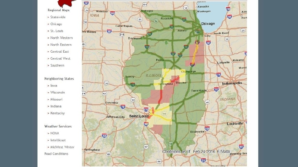 Road Conditions Around Central Illinois | WICS on indiana terrain map, indiana history map, indiana sports map, indiana activities map, indiana hunting seasons, indiana travel map, indiana snowfall totals, ohio valley road map, indiana highway cameras, indiana hospitals map, indiana utilities map, indiana wildlife map, indiana time map, indiana zoning map, in road map, county road map, indiana map with ohio river, indiana driving map, indiana highway road conditions, indiana gas prices map,